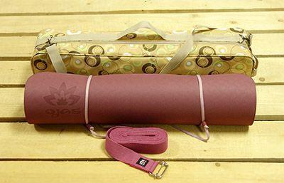 Набор для практики йоги бардовый: коврик, чехол, ремень