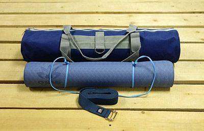 Набор для практики йоги синий, глубокий: коврик, чехол, ремень