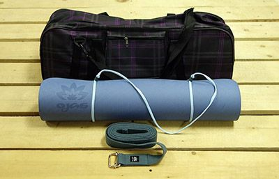 Набор для практики йоги темно-синий: коврик, чехол, ремень